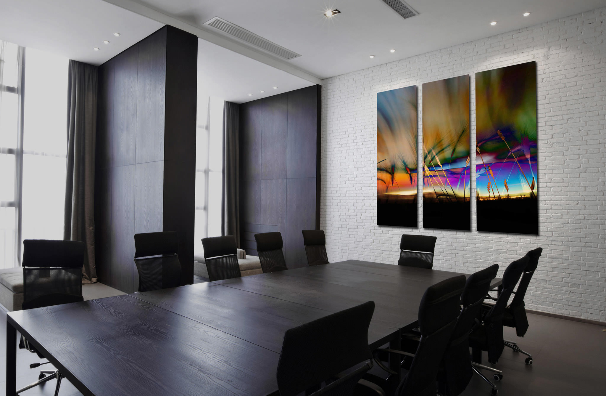 Genial 3 Panel Triptych Office Art