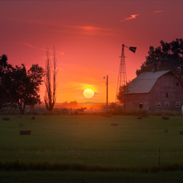 Sunset Over Farm