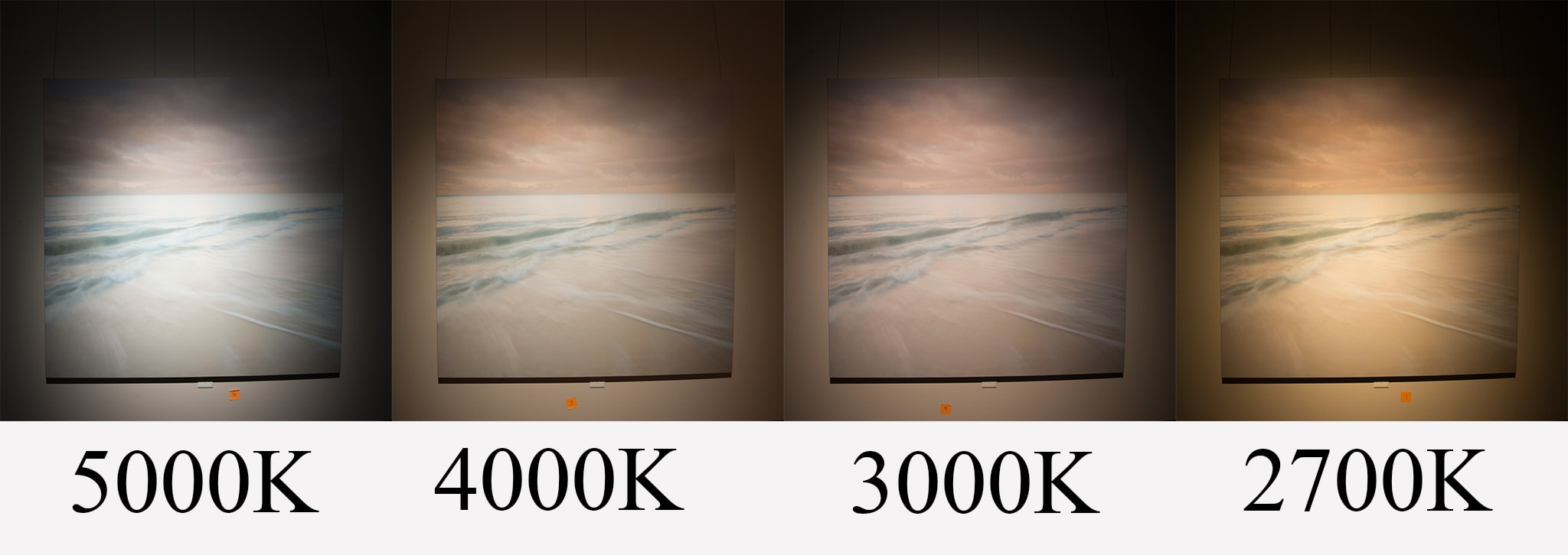 Experimenting with light temperature for wall art for Living room 2700k or 3000k